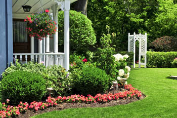 Landscaping with annual flowers in Douglasville.